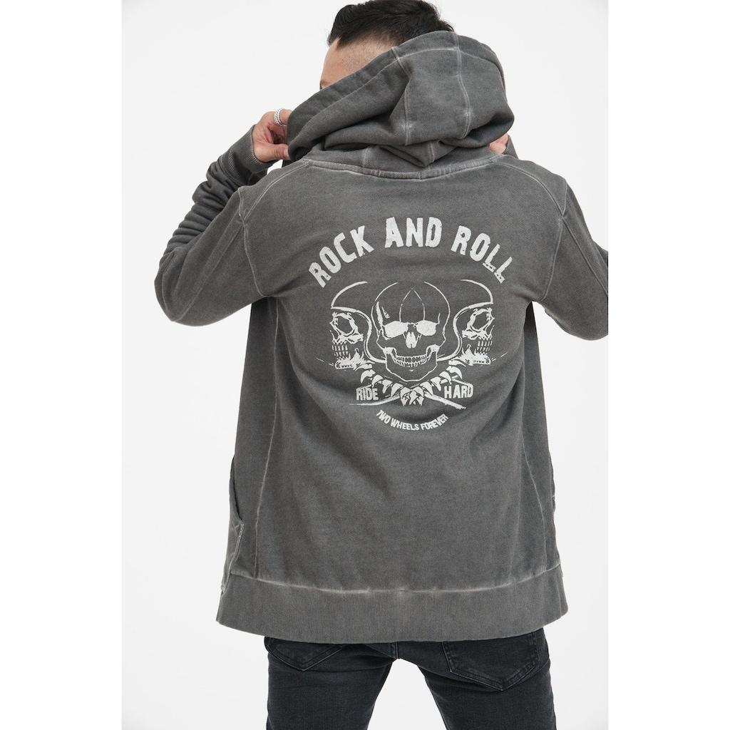 trueprodigy Sweatjacke »Skulls of rock and roll«, mit Rückenprint im Vintage Look