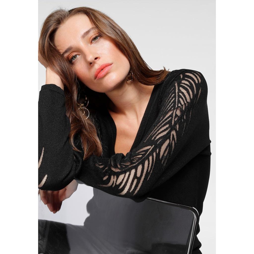 Laura Scott V-Ausschnitt-Pullover, mit Burn Out-Muster am Ärmel