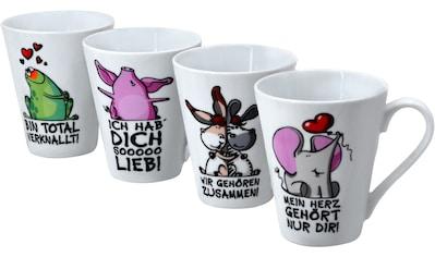 Retsch Arzberg Becher »Tierisch«, (Set, 4 tlg.), mit 4 Dekore-Sprüchen, 4-teilig kaufen