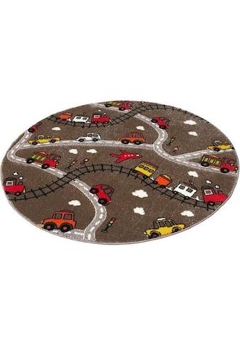 Festival Kinderteppich »Momo Straße«, rund, 13 mm Höhe, Straßen-Spielteppich, Kurzflor kaufen