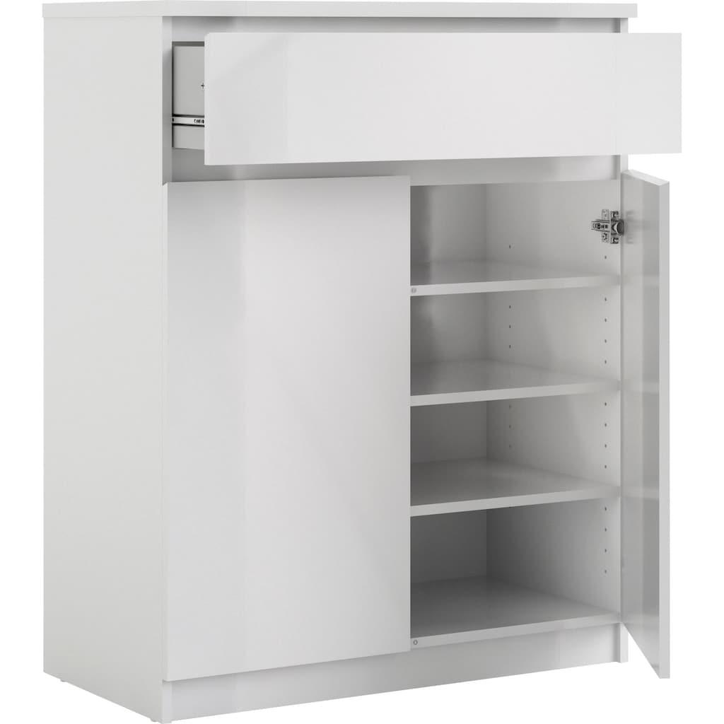 Home affaire Sideboard »Naia«, erstrahlt in einer weiß Hochglanz Optik, mit abgerundeten Schubladenkanten, Schubladen auf Metallgleiter, Breite 80,2 cm