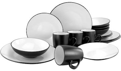 CreaTable Kombiservice »Cool Black«, (Set, 16 tlg.), coole Optik in schwarz weiß kaufen