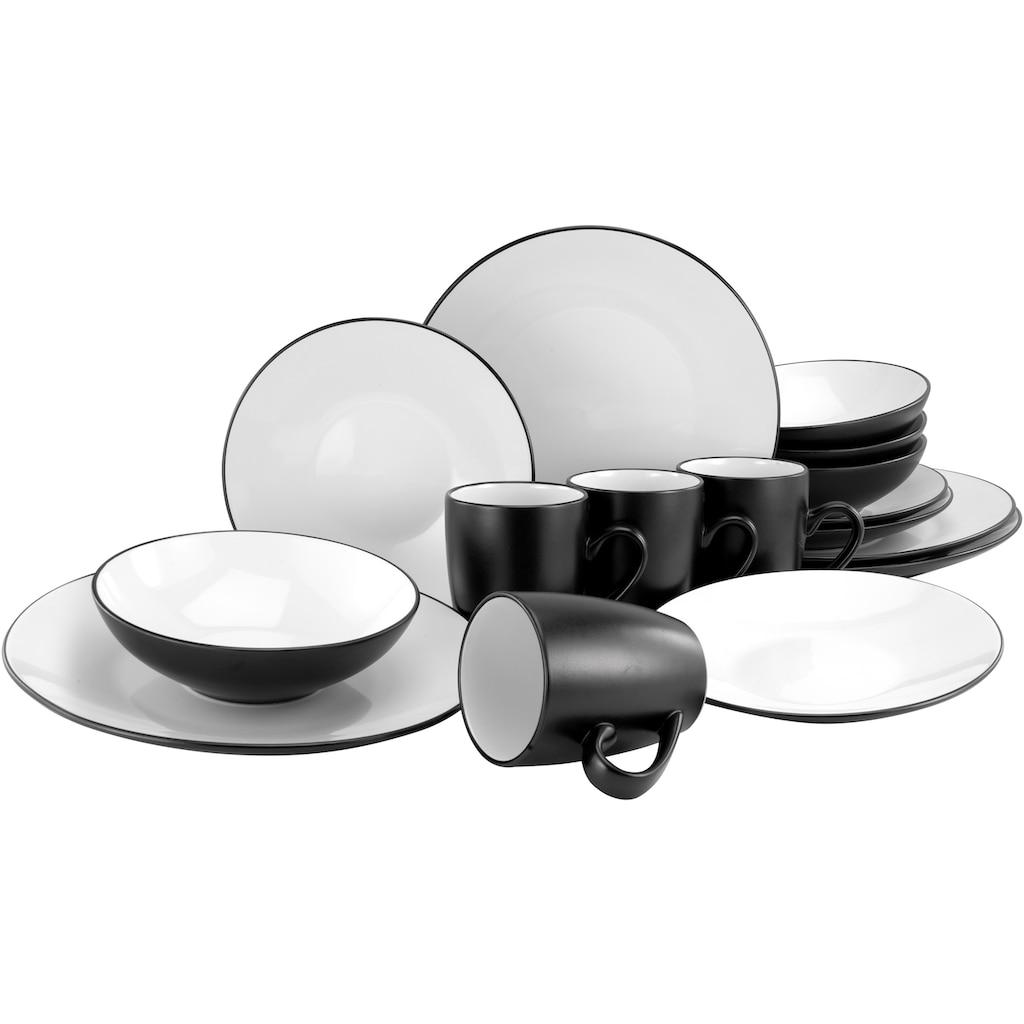 CreaTable Kombiservice »Cool Black«, (Set, 16 tlg.), coole Optik in schwarz weiß