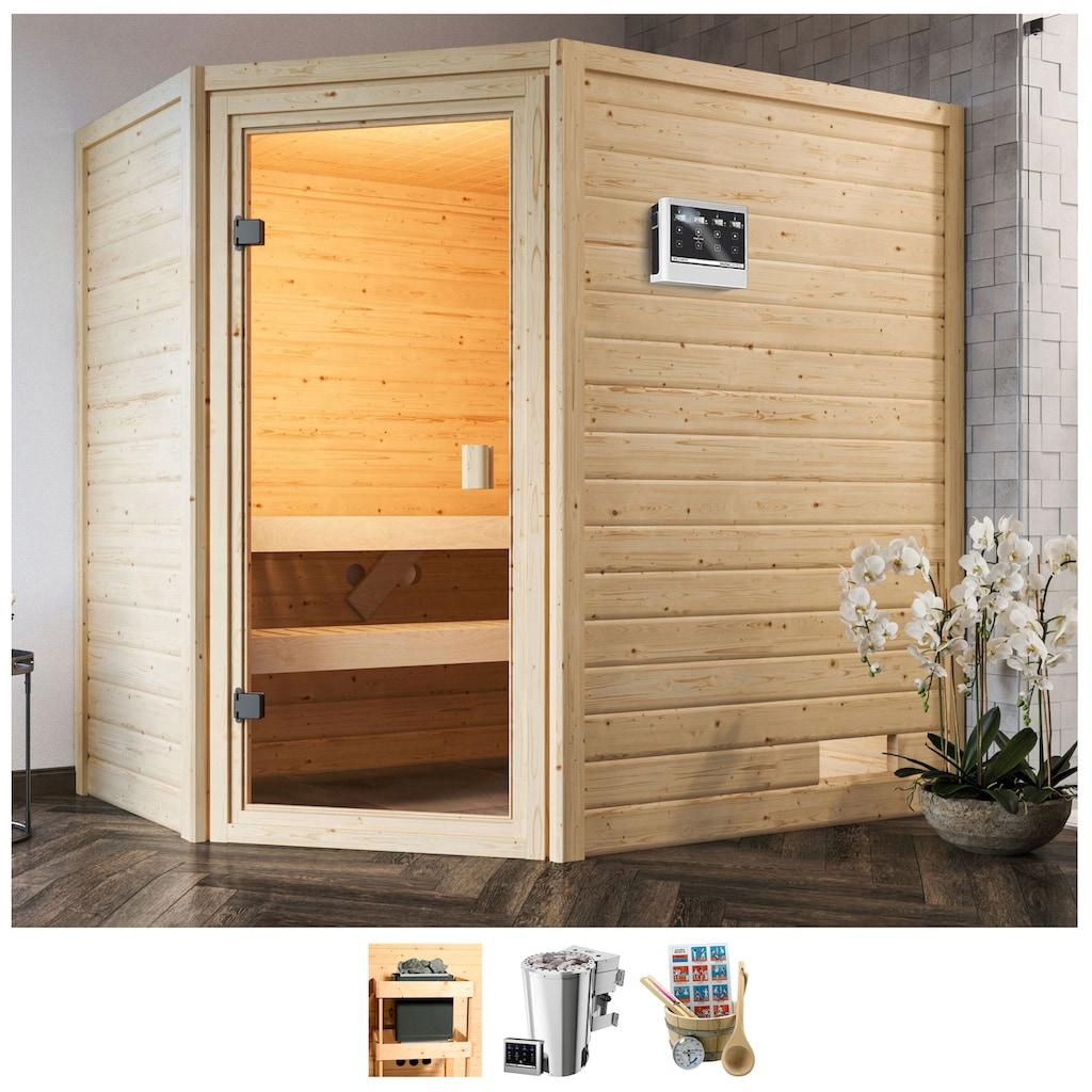 Karibu Sauna »Juli«, 3,6-kW-Bio-Plug & Play Ofen mit ext. Steuerung