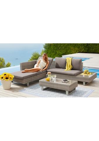 KONIFERA Loungeset »Long Beach New«, 11 - tlg., Ecklounge, Tisch 108x53 cm, Polyrattan kaufen