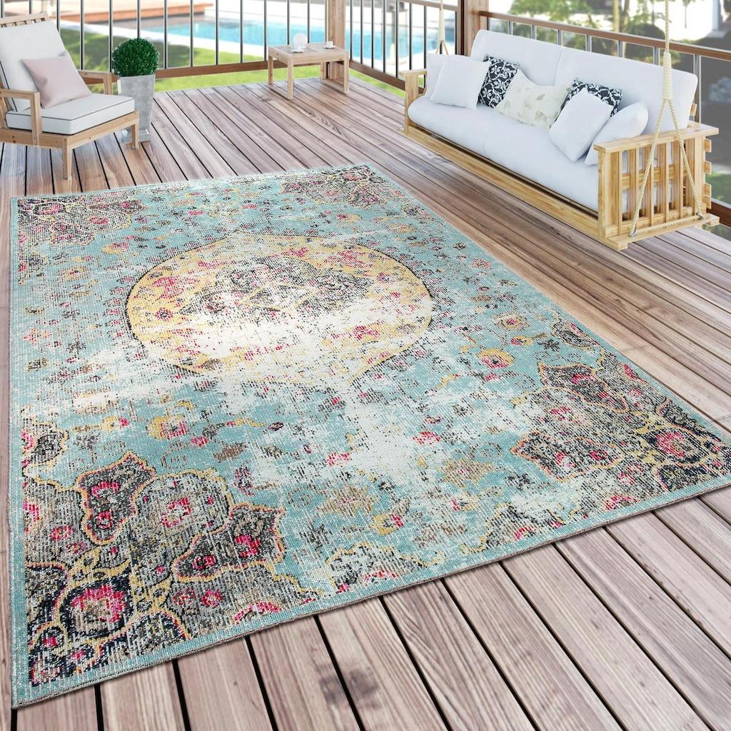 Paco Home Teppich »Artigo 401«, rechteckig, 4 mm Höhe, Kurzflor, Vintage Design, In- und Outdoor geeignet, Wohnzimmer