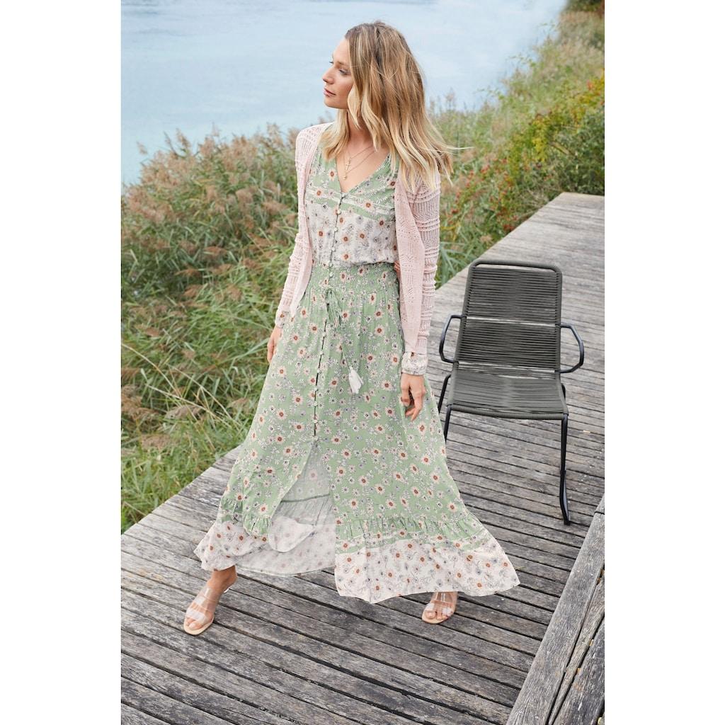 Aniston CASUAL Maxikleid, mit zarten Blumendruck und Patch-Optik