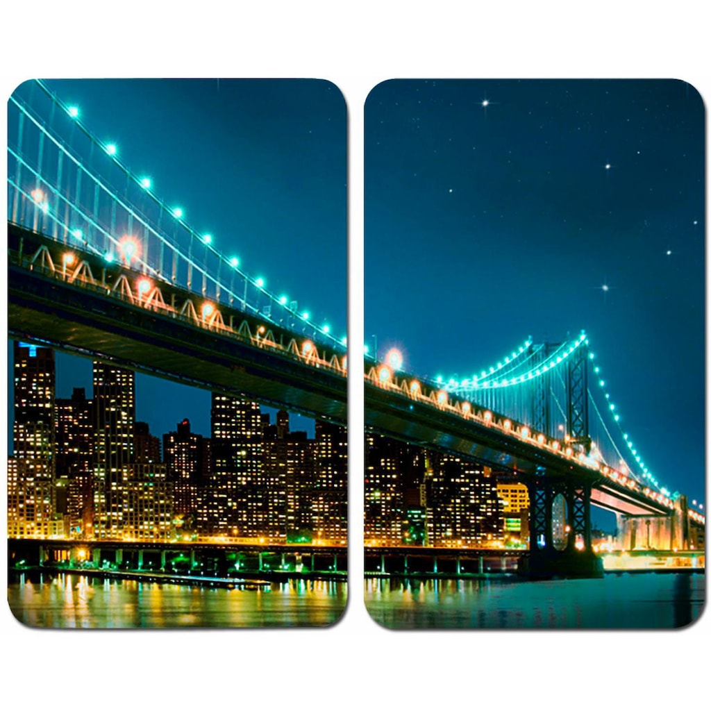 WENKO Herd-Abdeckplatte »Brooklyn Bridge«, (Set, 2 tlg.), kratzfest