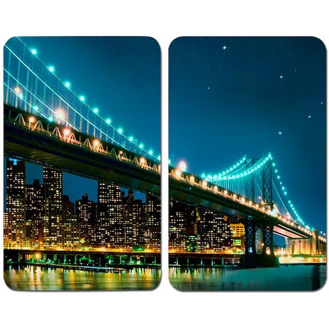 "WENKO Herd-Abdeckplatte ""Brooklyn Bridge"", Glas, (Set, 2-tlg.)"