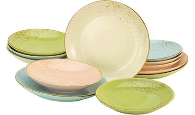 "CreaTable Tafelservice ""NATURE COLLECTION Pastell"" (12 - tlg.), Steinzeug kaufen"