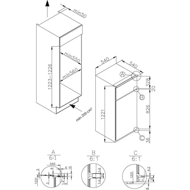 Amica Einbaukühlgefrierkombination, 122,1 cm hoch, 54 cm breit