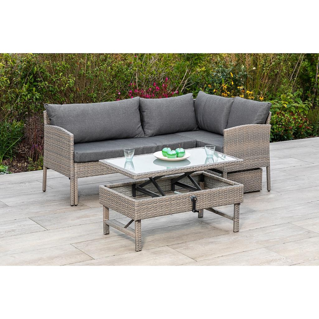 MERXX Gartenmöbelset »Viletta«, (3 tlg.), Ecksofa, höhenverstellbarer Tisch, mit Box