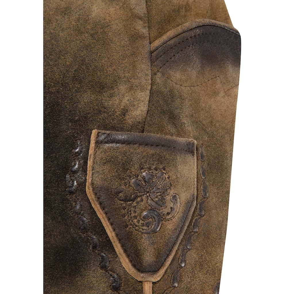 MarJo Trachtenlederhose, (2 tlg., mit abnehmbarem Gürtel), mit Gürtel