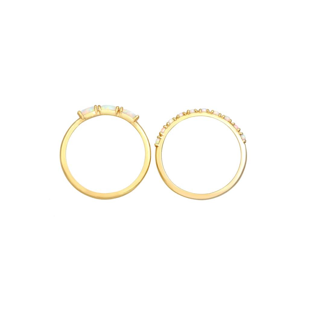 Elli Solitärring »Ring Set Vintage Opal Silber vergoldet«