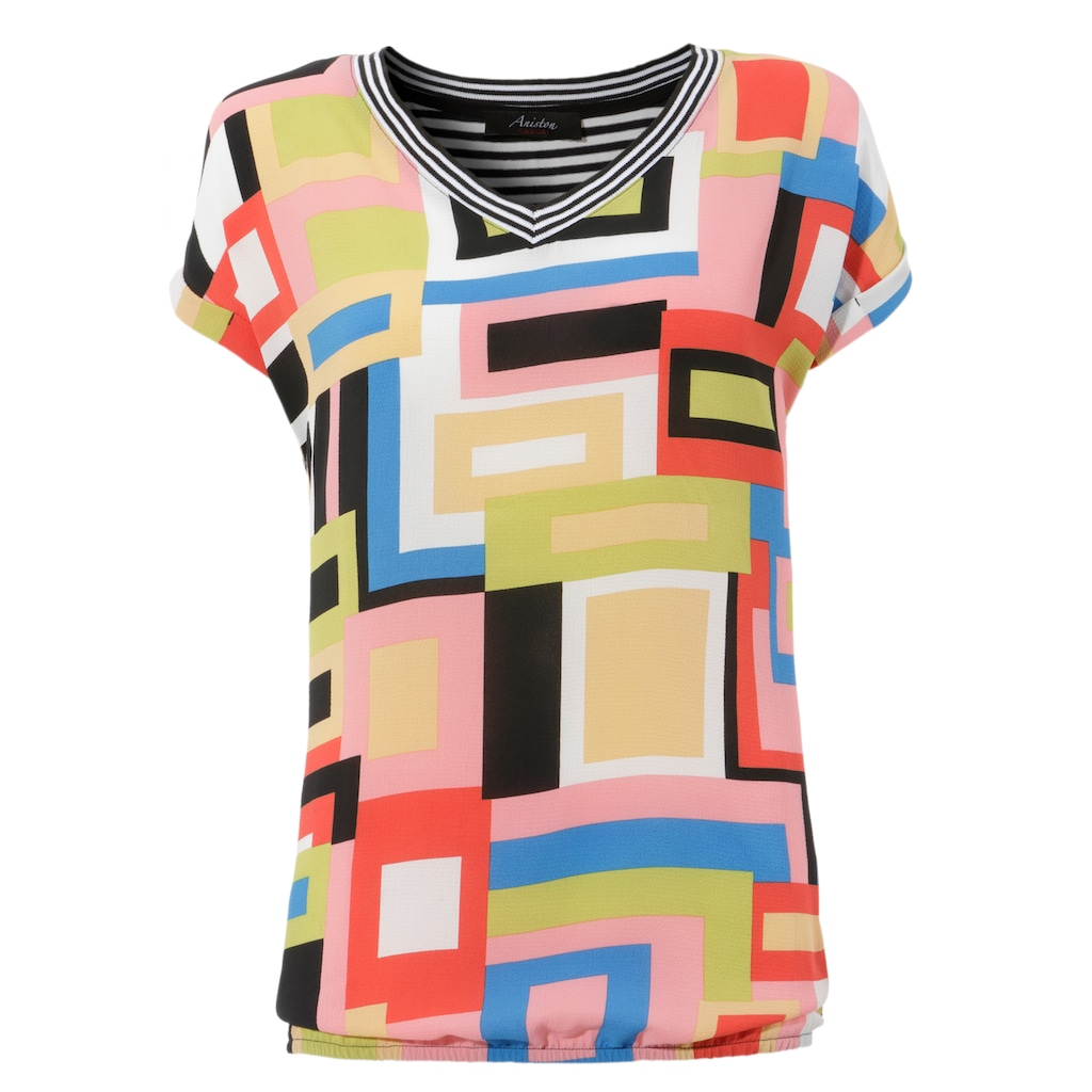 Aniston CASUAL T-Shirt, im Material- und Mustermix