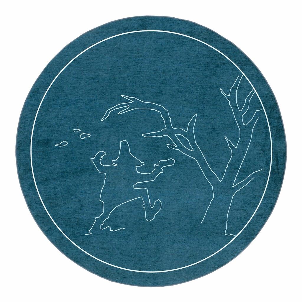 grimmliis Kinderteppich »Märchen 4«, rund, 2 mm Höhe, Motiv Rumpelstilzchen, Kinderzimmer