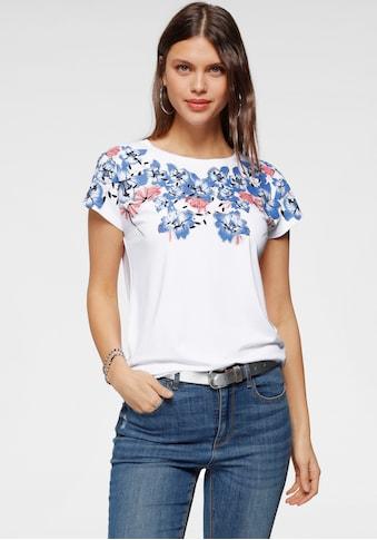 Laura Scott Rundhalsshirt, mit Blumenranke und Folienprint kaufen