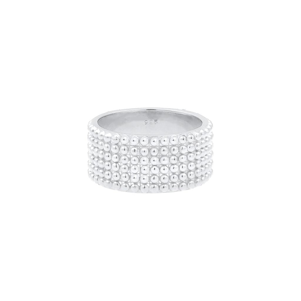 Elli Fingerring »Breit Bandring Dots Kugeln 925 Silber«