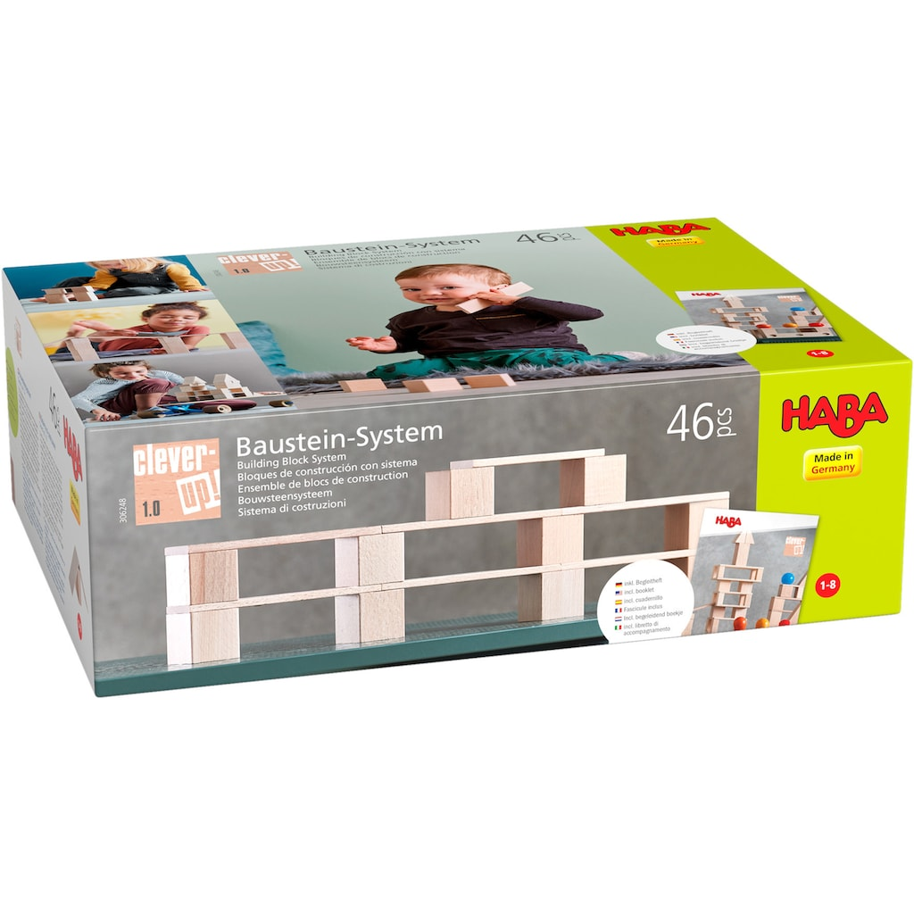 Haba Spielbausteine »Baustein-System Clever-Up! 1.0«, (46 St.), aus Holz; Made in Germany