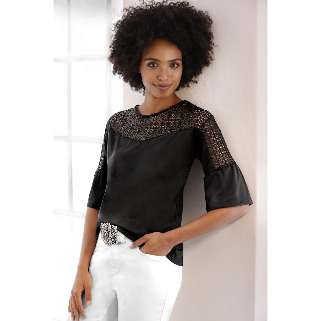 Spitzenshirt teilweise transparent