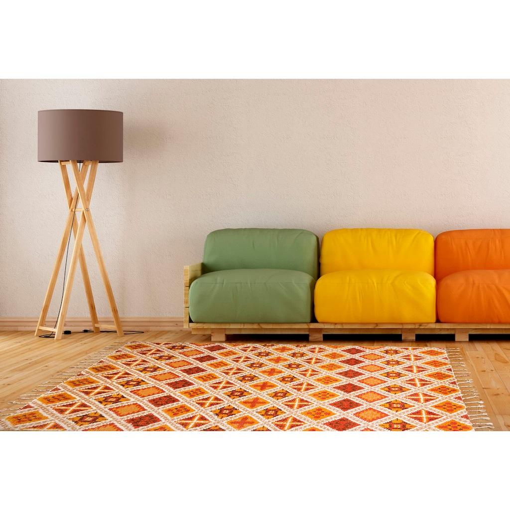 THEKO Wollteppich »Marmoucha«, rechteckig, 24 mm Höhe, reine Wolle, echter Berber, handgeknüpft, mit Fransen, Wohnzimmer