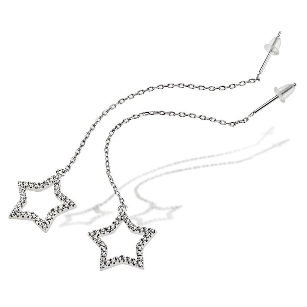 goldmaid Paar Ohrhänger, Stern 925/- Sterlingsilber 70 weiße Zirkonia