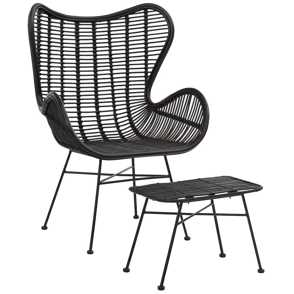 Home affaire Sessel »Malger«, aus einem schönen Rattangeflecht und einem edlen Metallgestell, in zwei verschiedenen Farbvarianten