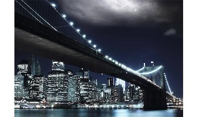 PAPERMOON Fototapete »Brooklin Bridge by night«, Vlies, in verschiedenen Größen kaufen
