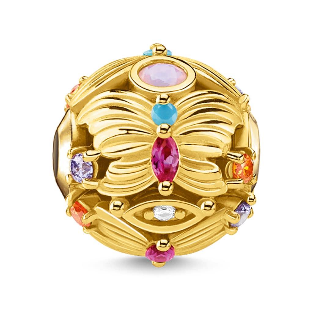 THOMAS SABO Bead »Schmetterling gold, K0342-488-7«, mit synth. Korund, Glassteinen und Zirkonia