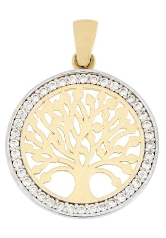 Firetti Kettenanhänger »Baum des Lebens, glänzend, Umrandung rhodinert, Rückseite Baum punktiert, bicolor« kaufen