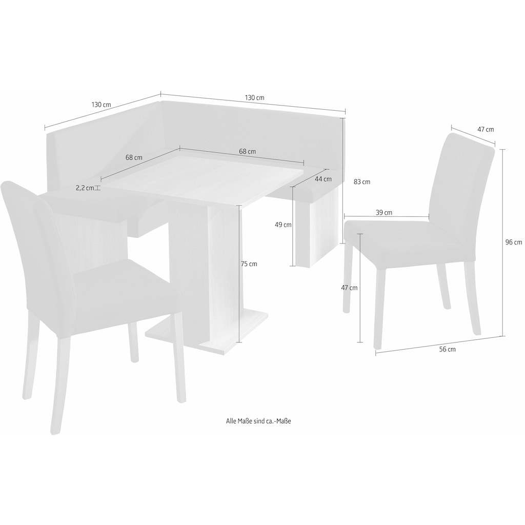 SCHÖSSWENDER Eckbankgruppe »Anna«, (Set, 5 tlg.), zeitloeses Design