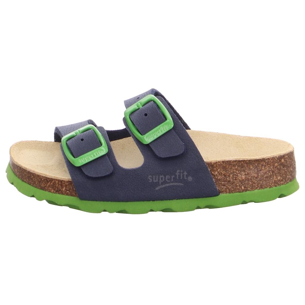 Superfit Pantolette »Fußbettpantolette«, mit kontrastfarbenen Schnallen zum verstellen