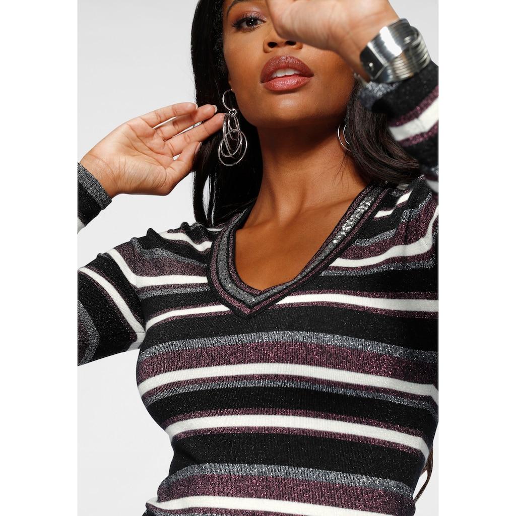 Melrose V-Ausschnitt-Pullover, mit weichem Glitzergarn und Pailletten-Details