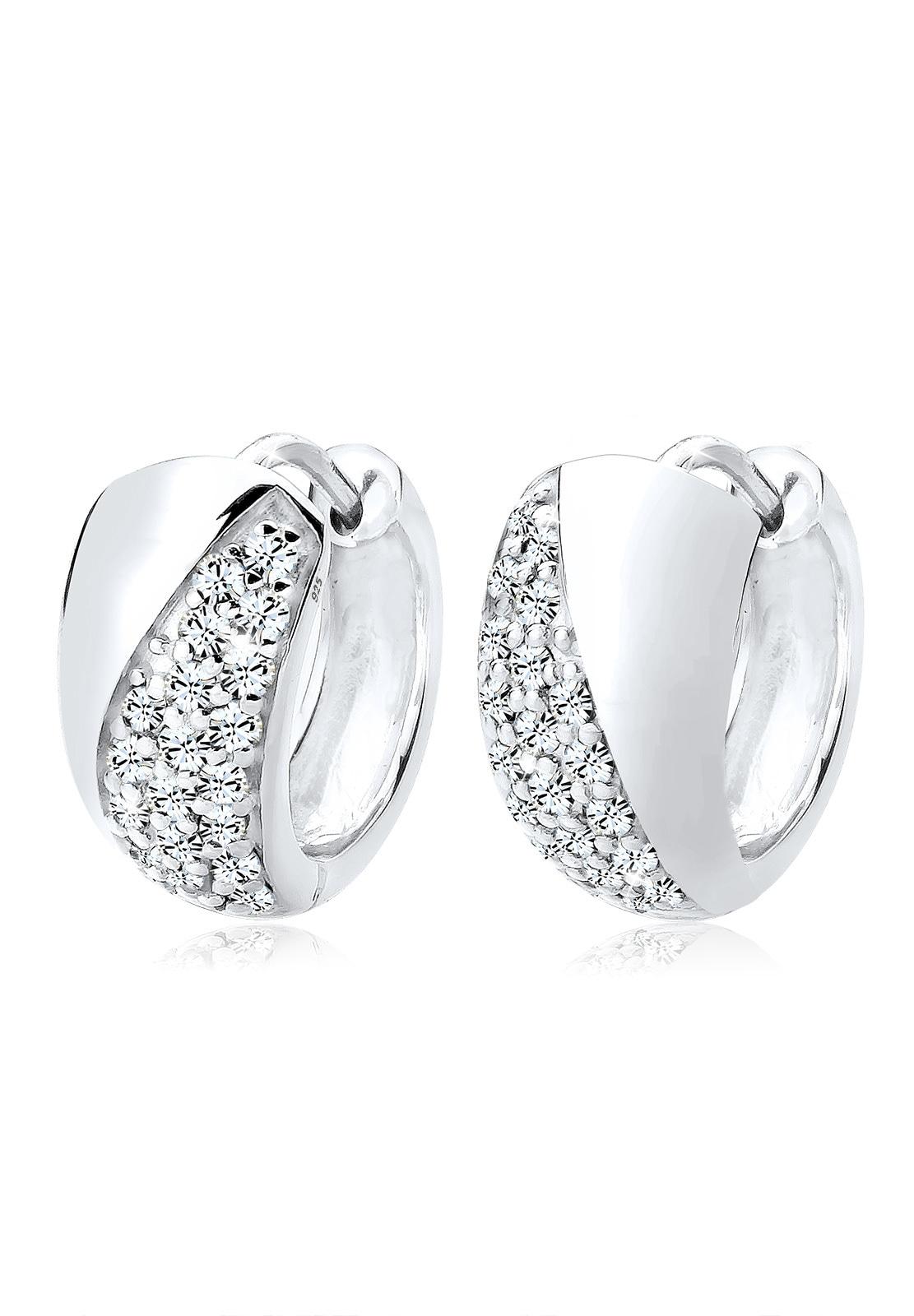 Elli Ohrringe »Creolen Swarovski® Kristalle Basic Elegant Silber«