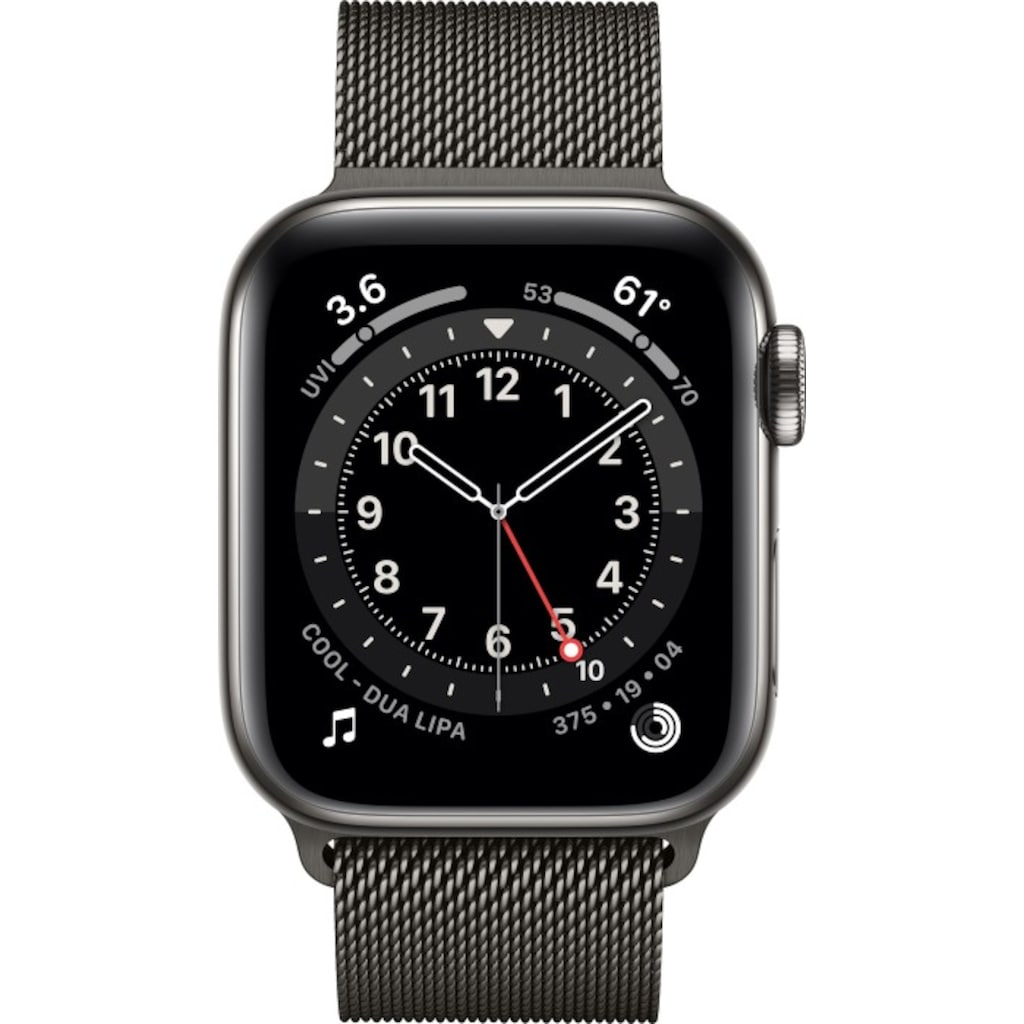 Apple Smartwatch »Series 6, GPS + Cellular, Edelstahl-Gehäuse, 40 mm mit Milanaisearmband«