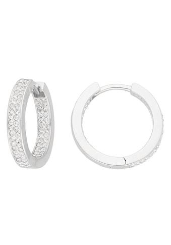 Firetti Paar Creolen »glänzend, rhodiniert, massiv, rund«, mit Kristallsteinen kaufen