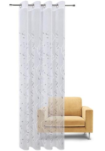 Gerster Vorhang »Freda«, HxB: 235x140, Ösenschal mit Blattranke bestickt kaufen