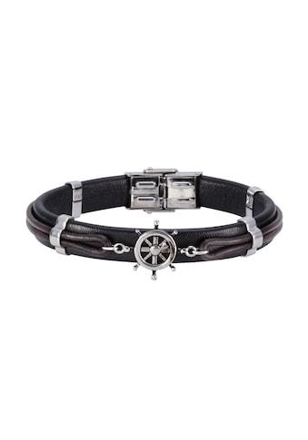 NOX Armband »Leder schwarz braun Edelstahl«, Lederband kaufen