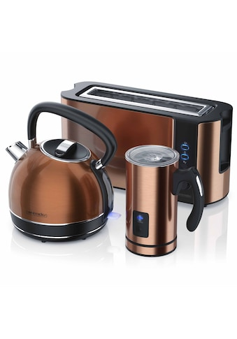 Arendo Frühstücks - Set 3 - teilig in Kupfer Optik »Wasserkocher / Toaster / Milchaufschäumer« kaufen