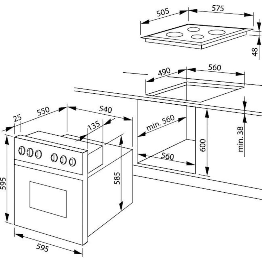 Amica Elektro-Herd-Set »EHC 933 021«, EHC 933 021 E, Steam Clean, RapidWarmUp-Funktion