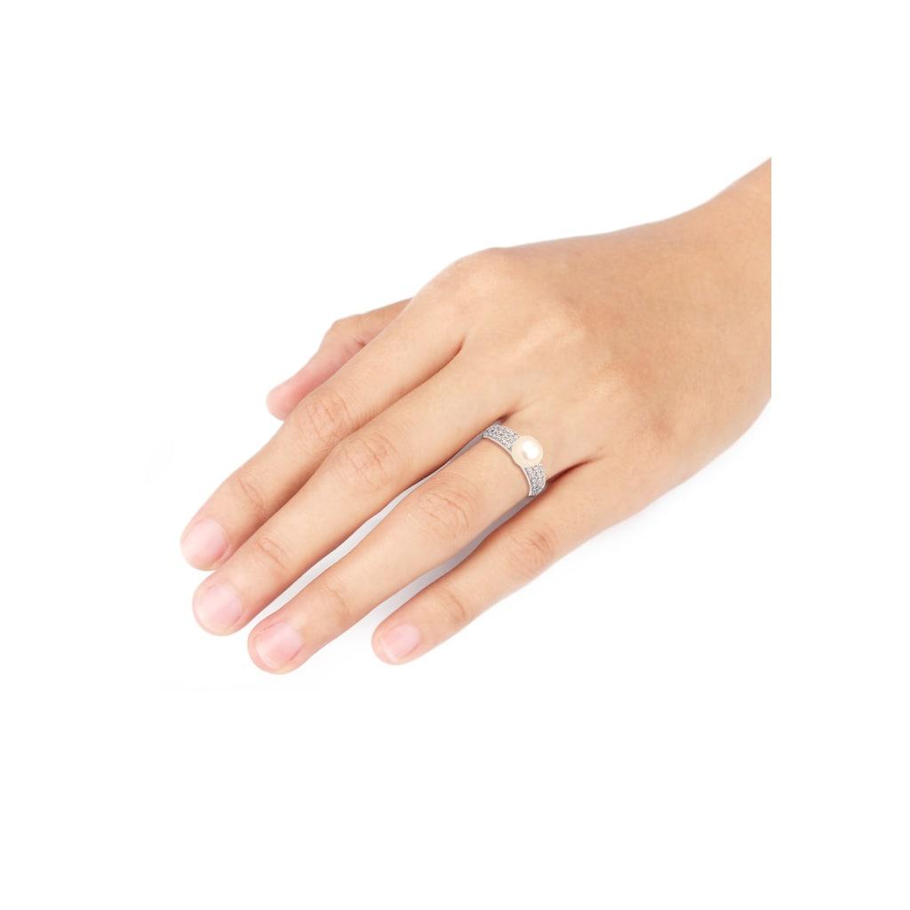 Elli Fingerring »Süßwasserzuchtperle Zirkonia 925er Silber«