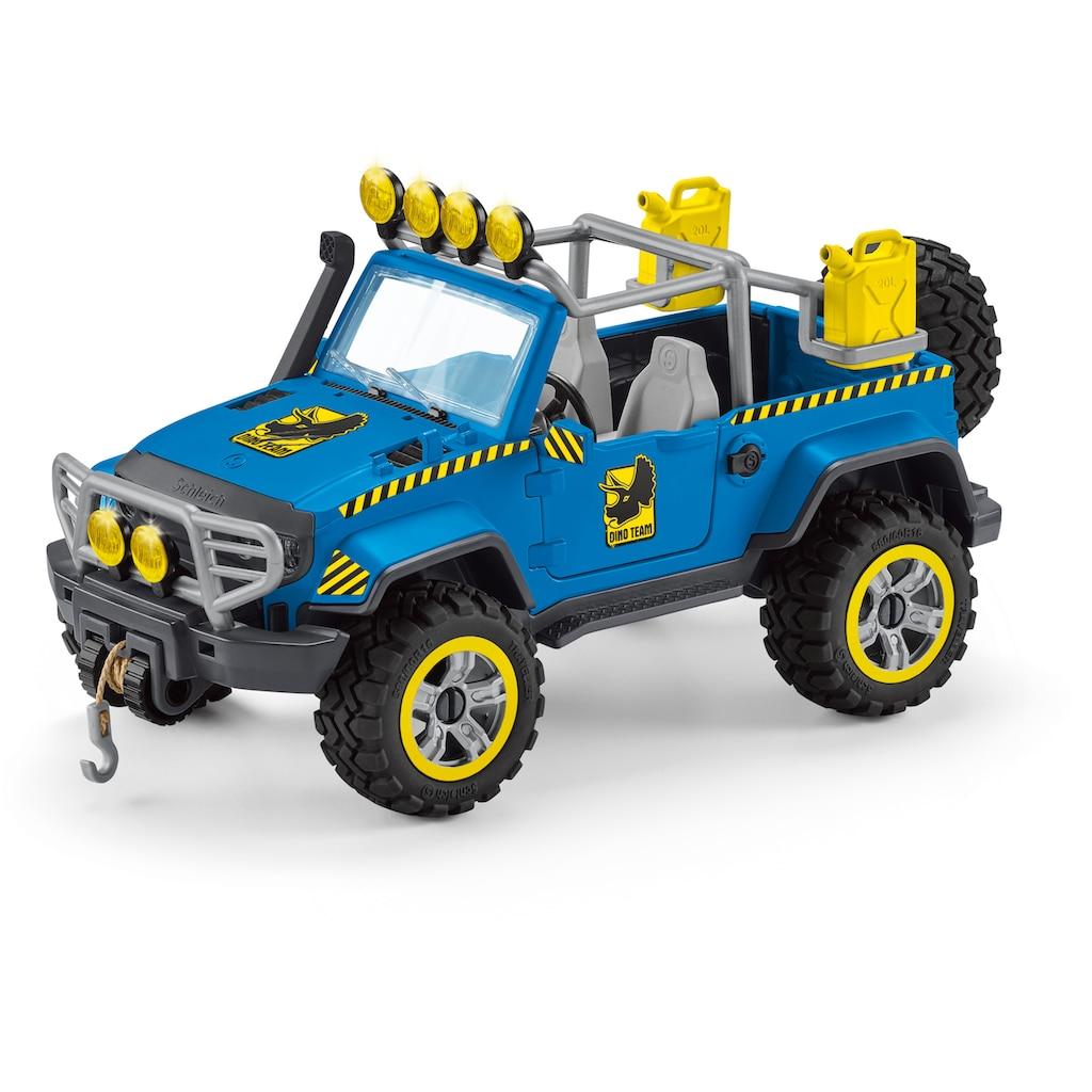Schleich® Spielzeug-Auto »Dinosaurs, Geländewagen mit Dino-Außenposten (41464)«