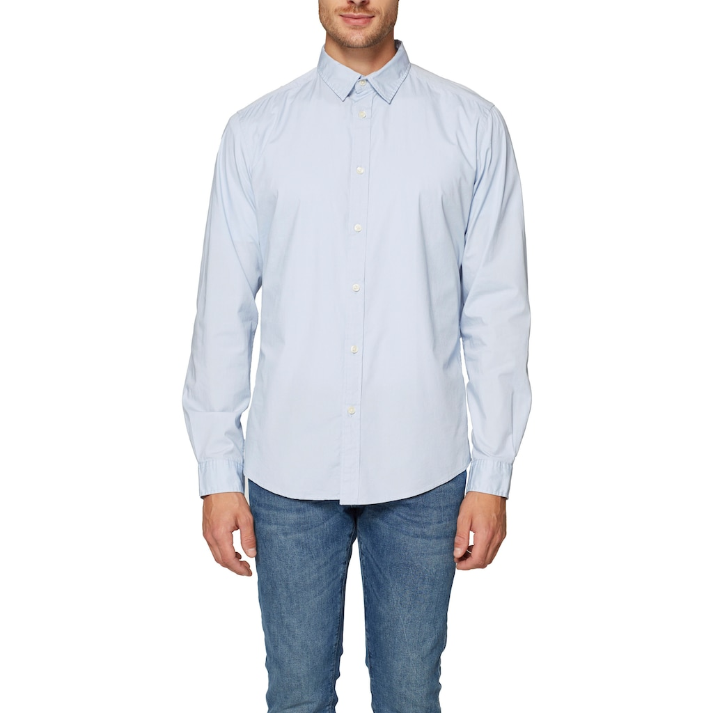Esprit Langarmhemd, mit Abnähern für eine schmale Passform