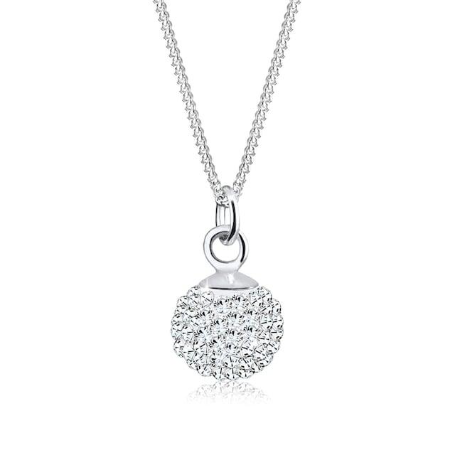 Elli Collierkettchen »Anhänger Kugel mit Kristalle Silber«