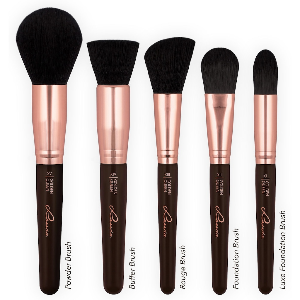 Luvia Cosmetics Kosmetikpinsel-Set »Golden Queen«, (15 tlg., mit Pinselhalter), vegan