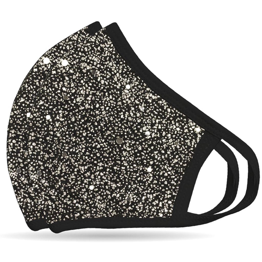 NEQI Mund-Nasen-Masken »Silber Glitzer«, stylisch und festlich