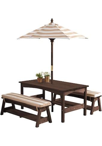 KidKraft® Kindersitzgruppe »Gartentischset dunkelbraun«, mit Sitzauflagen und... kaufen