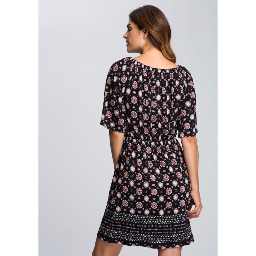 Boysen's Jerseykleid, mit Bordürendruck und elastischem Ausschnitt