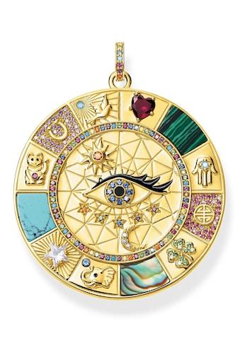 THOMAS SABO Kettenanhänger »Amulette magische Glückssymbole, PE855-993-7«, mit Perlmutt, Emaille, imit. Malachit, imit. Türkis, synth. Spinell, synth. Korund, Glassteinen und Zirkonia kaufen