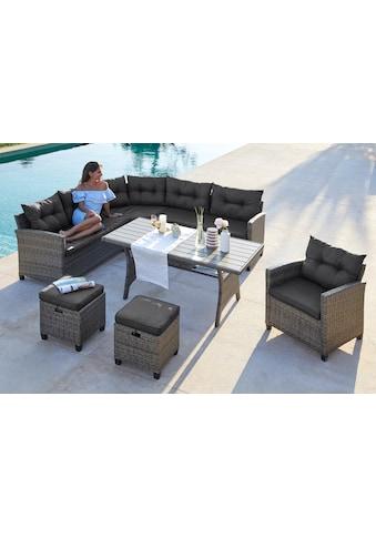 KONIFERA Loungeset »Keros Premium«, 20 - tlg., Ecklounge, 2 Hocker, Sessel, Tisch, Polyrattan kaufen